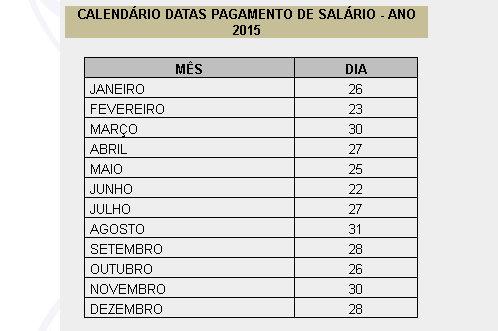 Calendário de pagamento 2015 - Prefeitura Municipal de Montes Claros